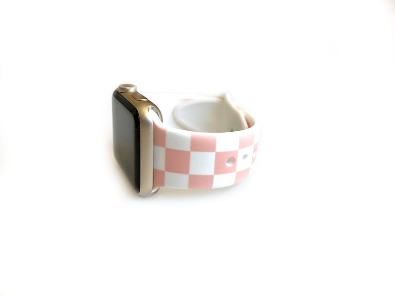 Pink and white checkered or checkerboard style apple watch band size small medium band for apple watches size 38mm and 40mm.