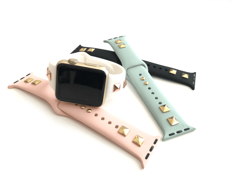 "Studded silicone Apple Watch bands. These fit all series of Apple Watch band and fit in both sizes of Apple Watch.  Sizing: S/M : fits 4"" up to 7"" M/L: fits 6"" up to 8""  Colors include: black w/ gold, black w/ silver, black w/ rose gold, pink w/ gold,  white w/ rose gold, mint w/ gold Please measure your wrist size before purchasing."