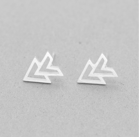 Silver Double Arrow Stud Earrings