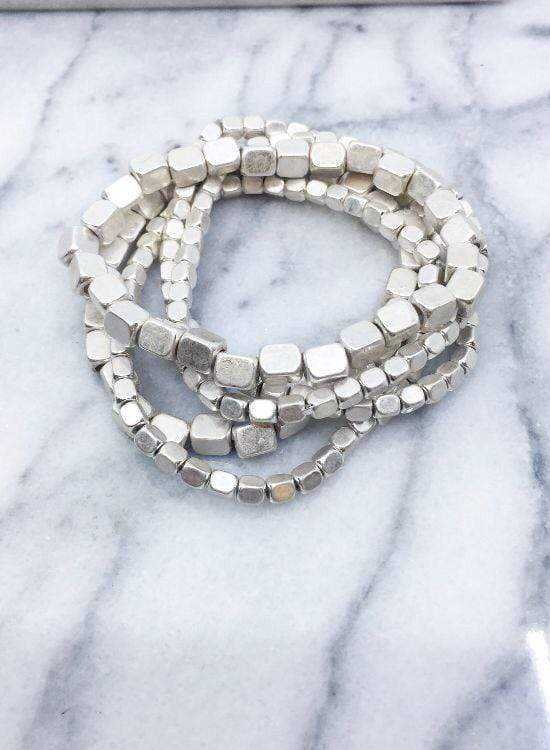 Silver beaded Stacking Bracelets