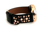Beautiful black top grain genuine leather studded watch band. This watch band features a stainless steel buckle and is adorned with several flat circular metal studs on each side. Stud color choices include Silver, Gold, and Rose Gold. This watch band features a quick release spring bar and is a perfect fit for the Samsung watch.