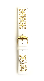 Beautiful WHITE top grain genuine LEATHER STUDDED watch band. This watch band features a stainless steel buckle and is adorned with several flat circular metal studs on each side. Stud color choices include Silver, Gold, and Rose Gold. This watch band features a quick release spring bar and is a perfect fit for the Samsung watch.