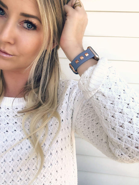 The Rockstar Blue with Rose Gold Leather and Studs Apple Watch Band