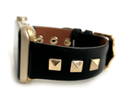 Beautiful BLACK top grain genuine LEATHER, STUDDED Apple Watch Band. This watch band features a stainless steel buckle and is adorned with three metal studs on each side. Stud color choices include Silver, Gold, and Rose Gold. Studs are square shaped and slightly raised in the center giving them a pyramid shape. This watch band fits all series of Apple Watches. Comes in sizes 38/40 and 42/44
