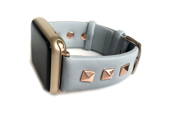 The Rockstar in light Blue with Rose Gold Leather and Studs Apple Watch Band