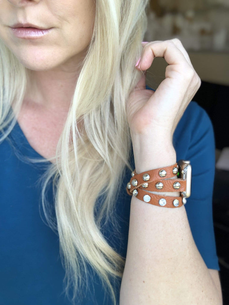 The Sahara Leather Wrap Apple Watch Band With Studs