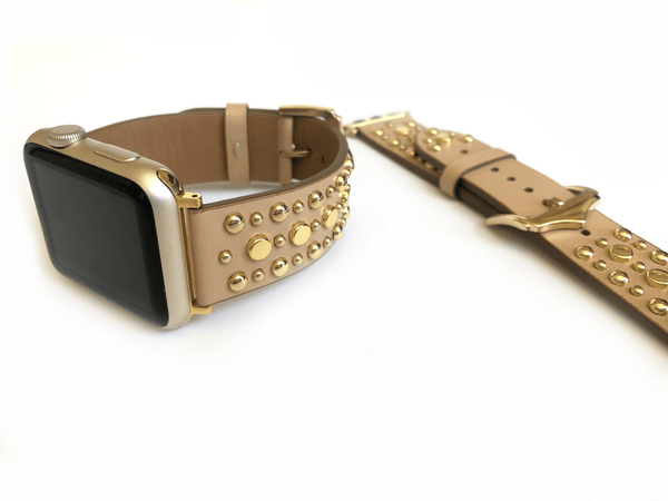 The Sundance in Mint and Silver Studded Leather Apple Watch Band