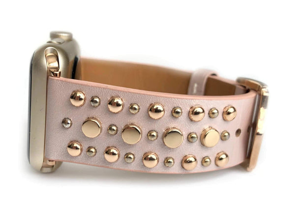 The Sundance in Pink and Rose Gold Studded Leather Apple Watch Band