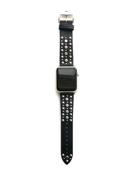 The Sundance in Black with Gold Studded Leather Apple Watch Band