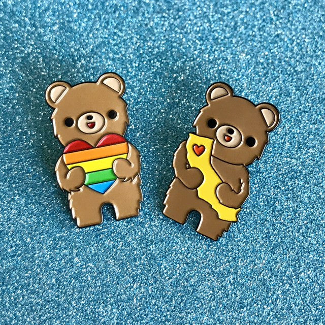 "California Bear ""Love is Love"" Rainbow Heart Enamel Pin"