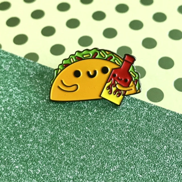 "Taco & Hot Sauce ""Make it Spicy"" Enamel Pin"