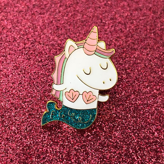 """Mernicorn"" Unicorn Mermaid Teal Glitter Enamel Pin"