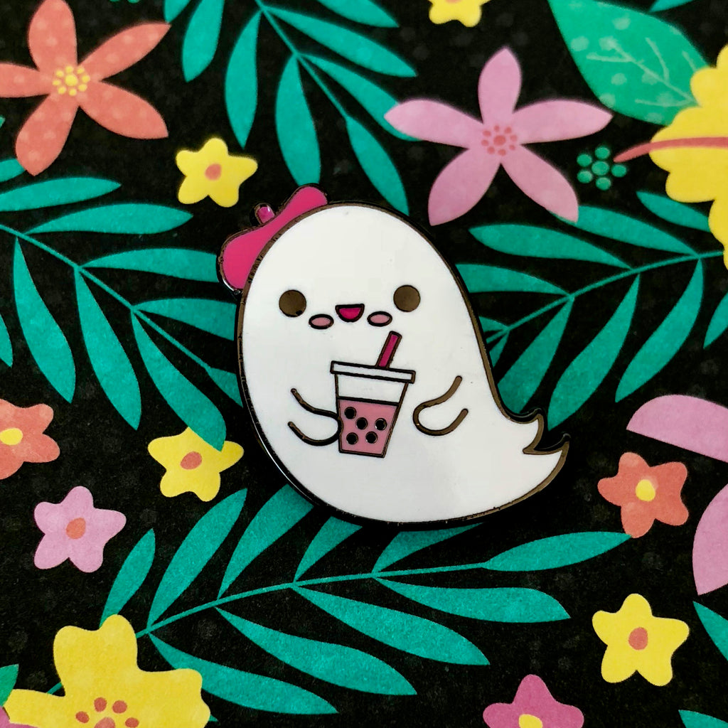 Boba Ghost Cute Ghostie Enamel Pin