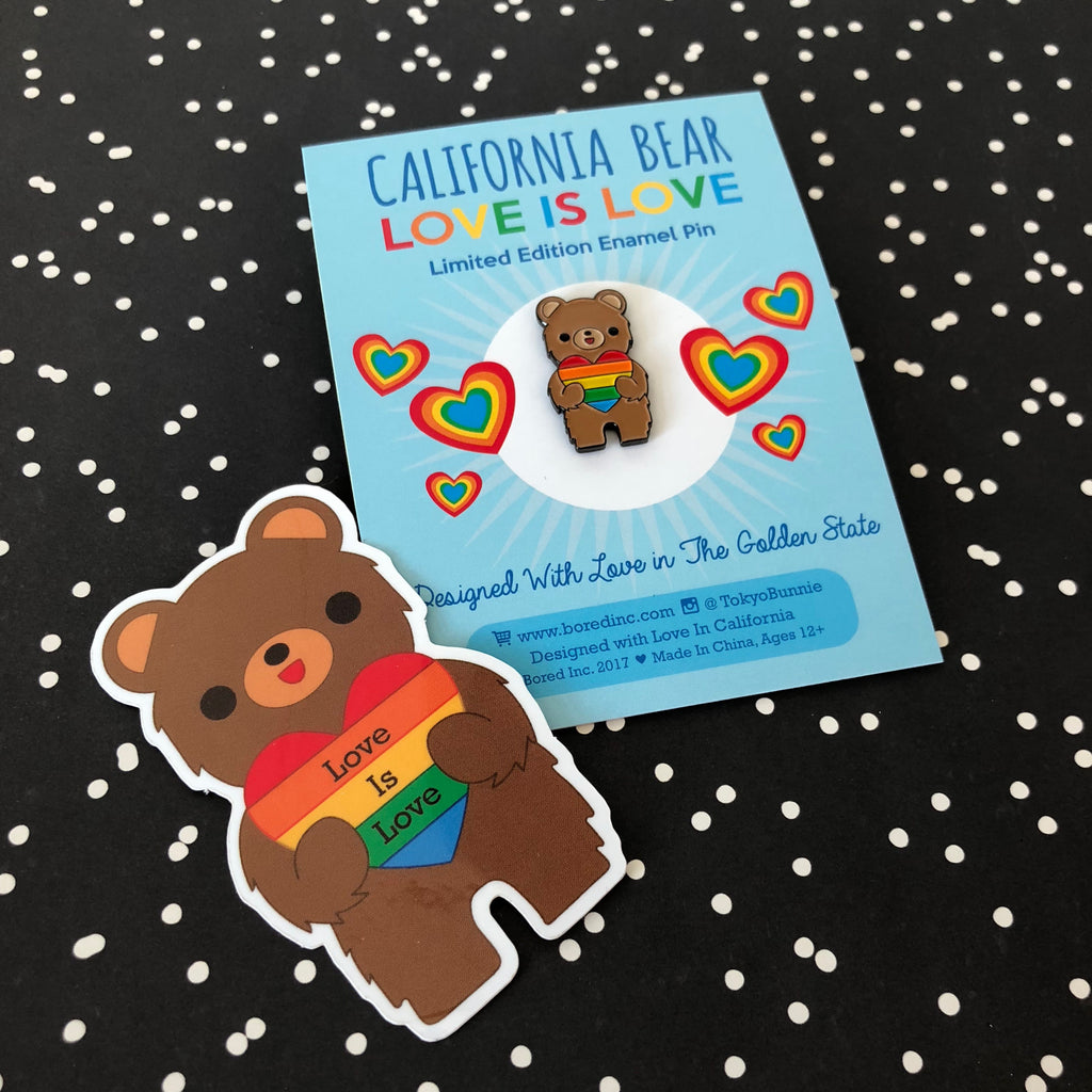 California Bear 'Love is Love' Rainbow Heart Sticker