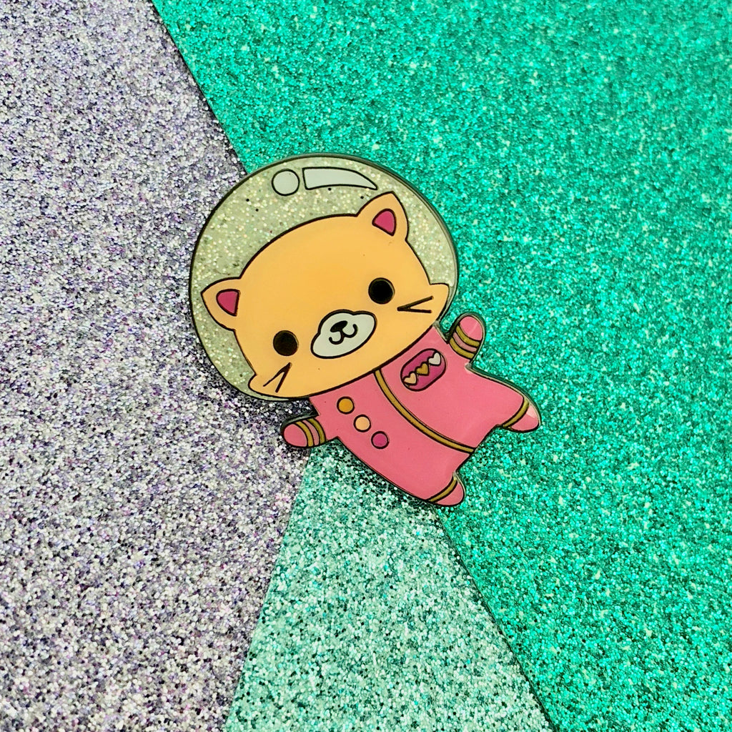Space Kitty Pink Glitter Enamel Pin