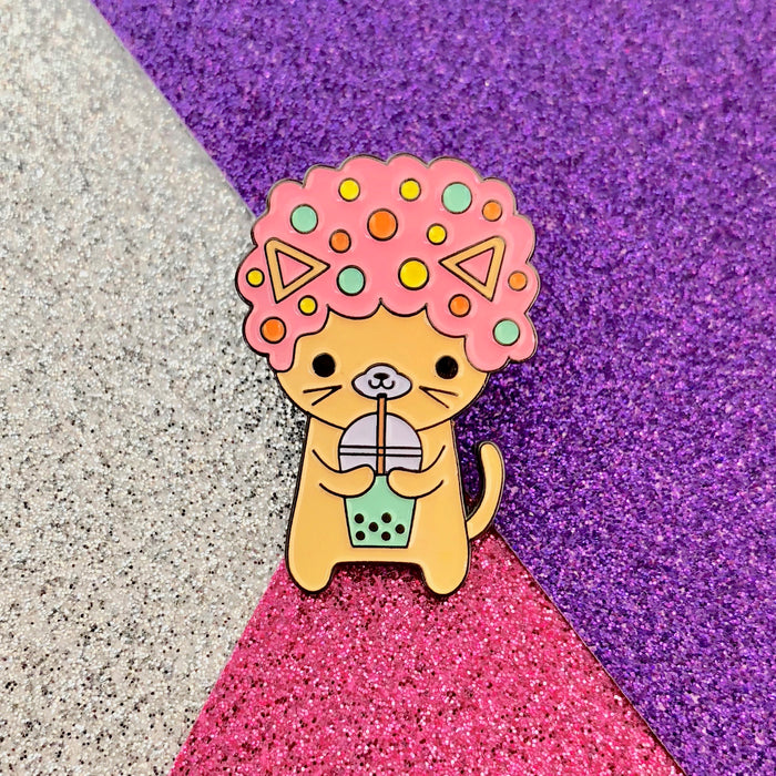 Afro Cat I Love Boba PINK Enamel Pin