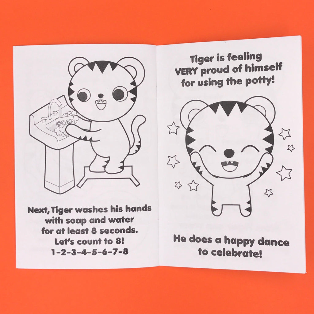"Toddler Potty Training Coloring Book ""Tiger Learns to Use the Potty!"""