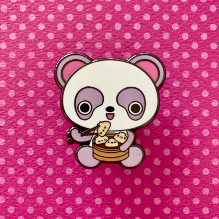 Kawaii Panda & Dumplings Enamel Pin
