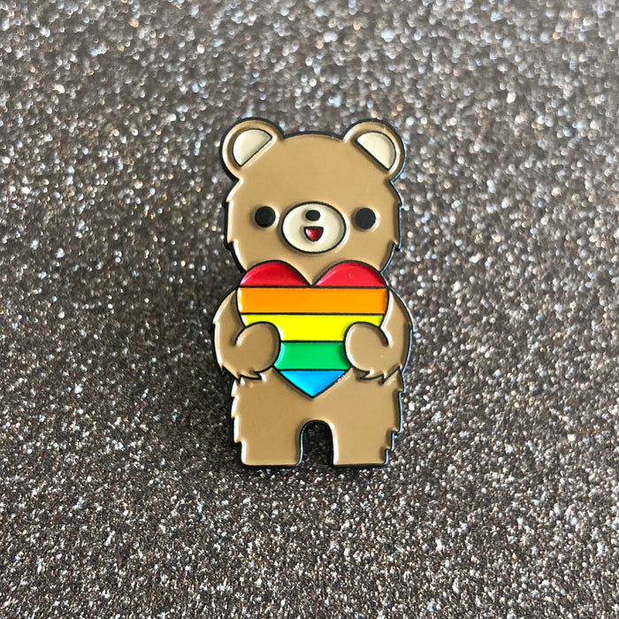 "California Bear ""Love is Love"" Pride Rainbow Heart Enamel Pin"