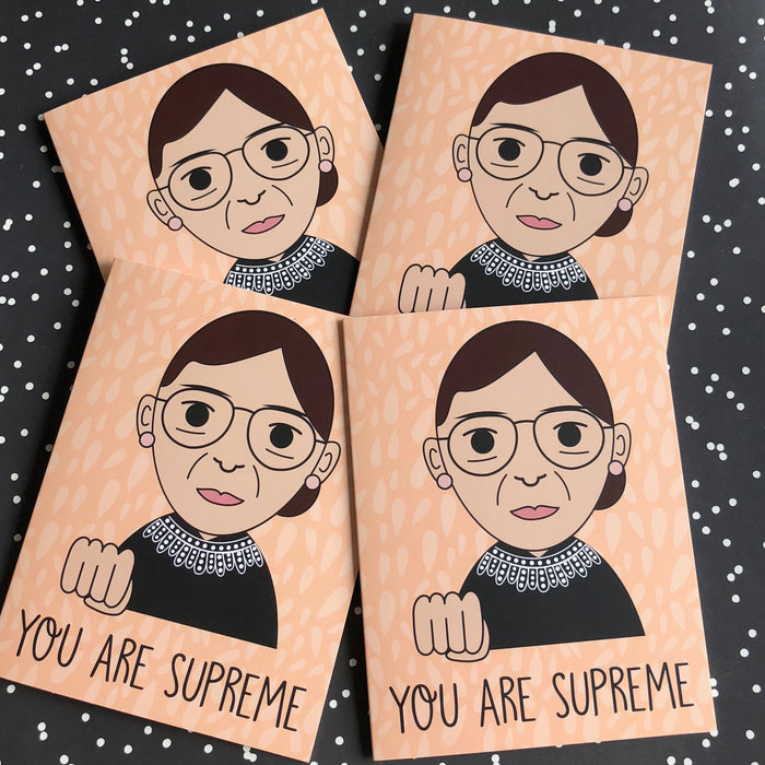 "4 Card Pack RBG Ruth Bader Ginsburg ""You Are Supreme"" Greeting Card"