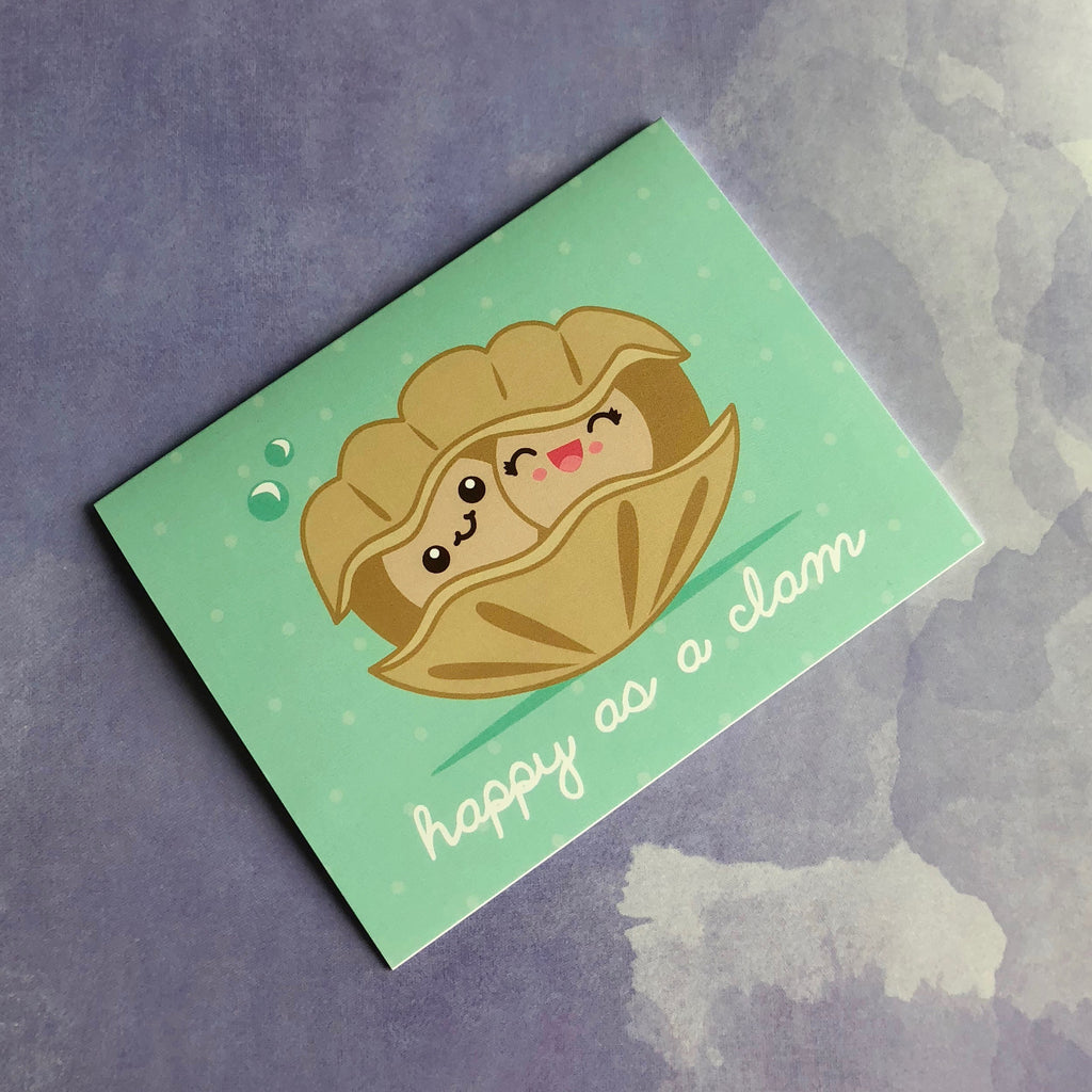 "Clams in Love ""Happy as a Clam"" Greeting Card"