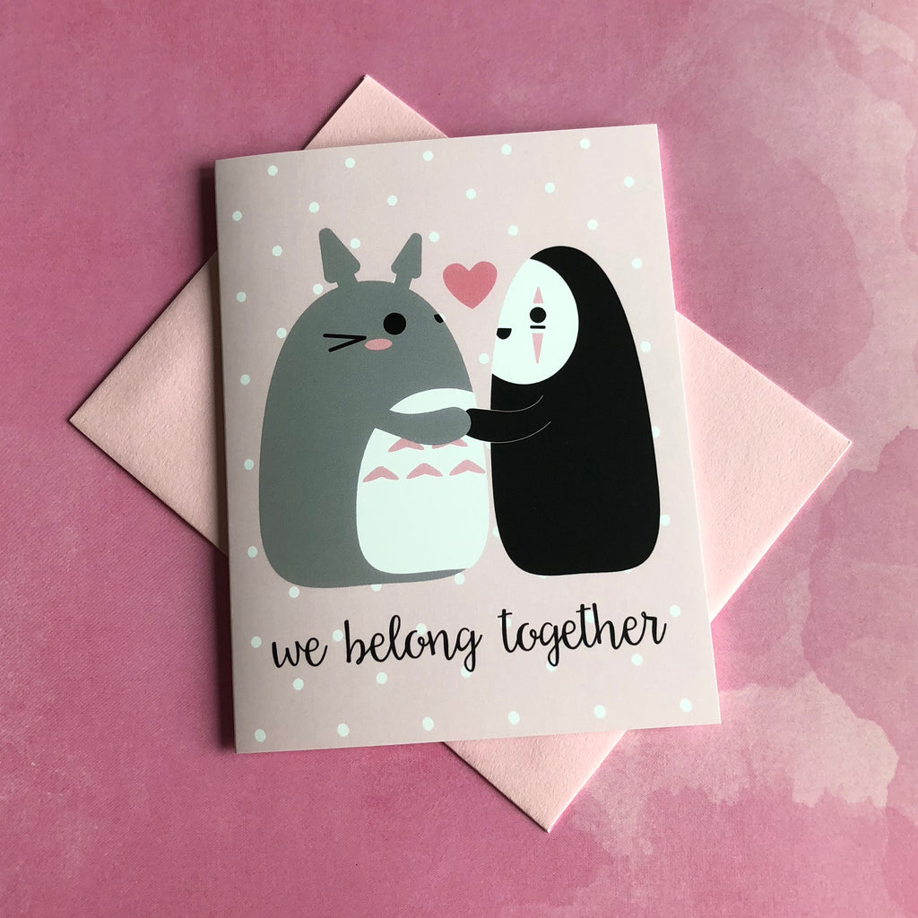 "Totoro & No-Face ""We Belong Together"" Ghibli Greeting Card"