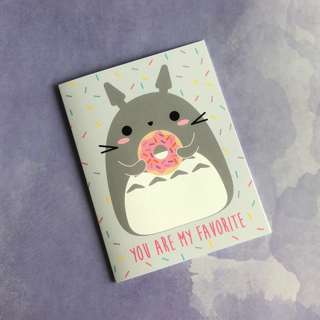 "My Neighbor Totoro & Donut ""You Are My Favorite"" Greeting Card"