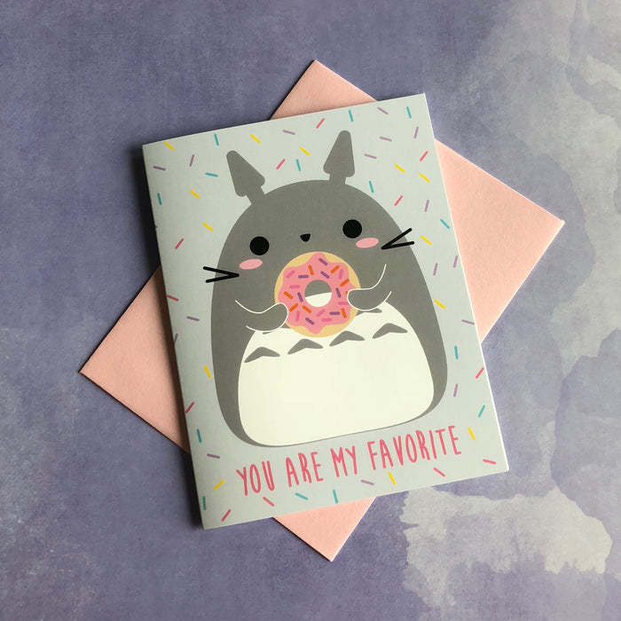 """You Are My Favorite"" Cute Totoro & Donut Greeting Card"