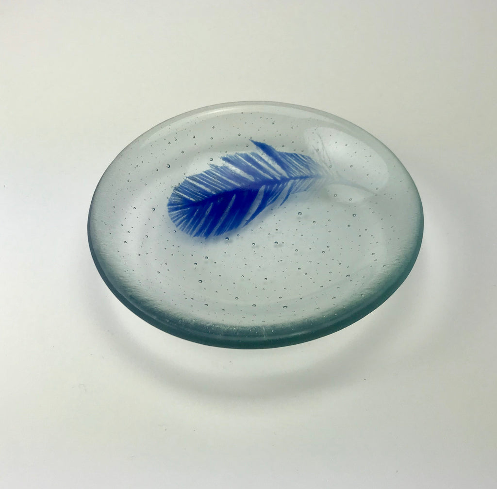 JK-small clear bowl with blue feather