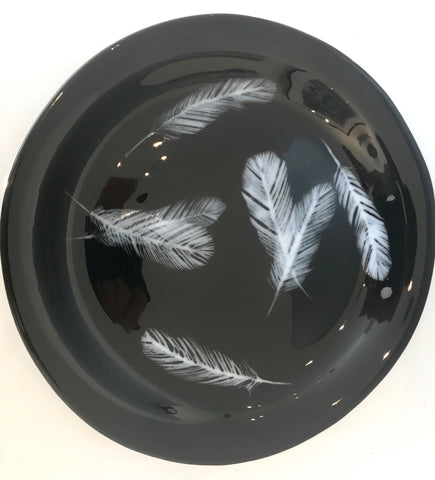 JK - Black Platter with White Feathers