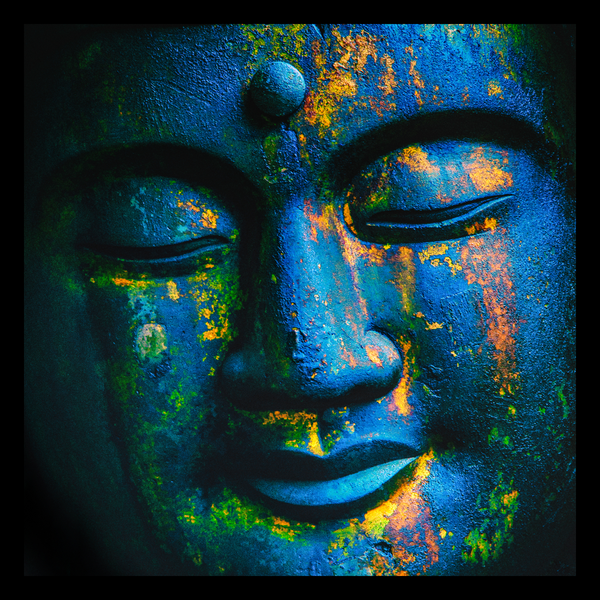 LT - Blue Buddha-2222 - 10''x10'' framed - glass