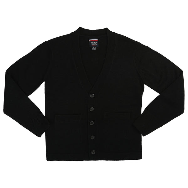 Black Anti Pill V-Neck Cardigan w/ Logo (Unisex All Grades) - Kids Palace