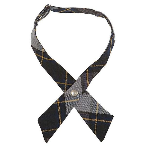 Blue Plaid Adjustable Cross Tie
