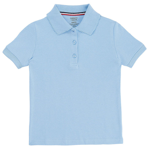 Light Blue Picot Collar Polo w/ Logo
