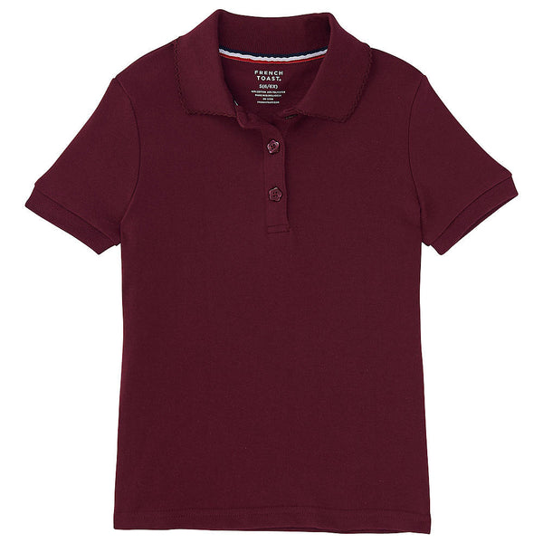 Burgundy Picot Collar Polo S/S w/ Logo (Girls All Grades) - Kids Palace