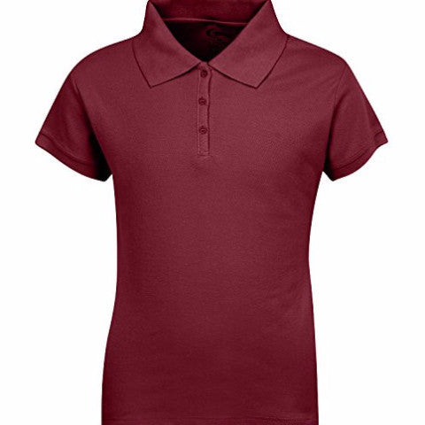 Burgundy Pique Feminine Fit Polo S/S w/ Logo (Girls All Grades) - Kids Palace