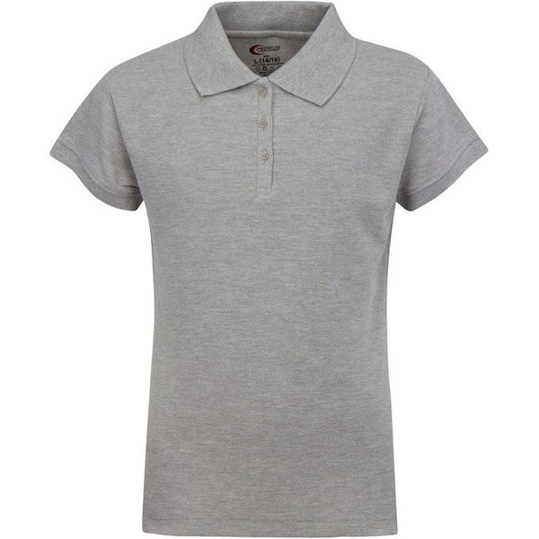 Grey Girls Pique Polo w/ Logo