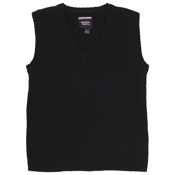 Black Anti Pill V-Neck Vest w/ Logo (Unisex All Grades) - Kids Palace