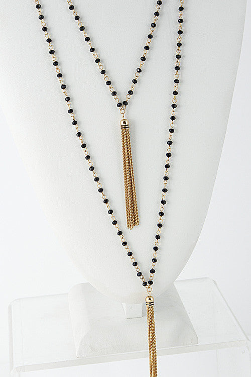 Long Chain Tassel Bead Linked Necklace