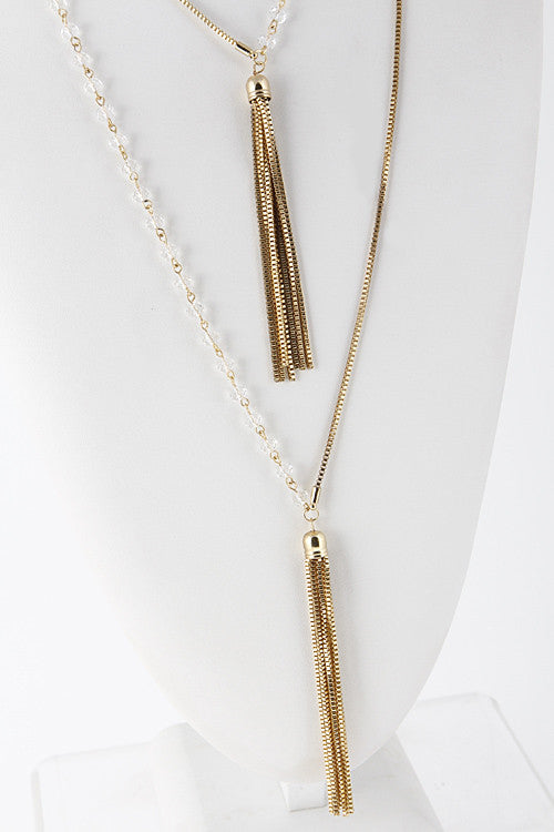 Bead Chain Half And Half Chain Tassel Necklace