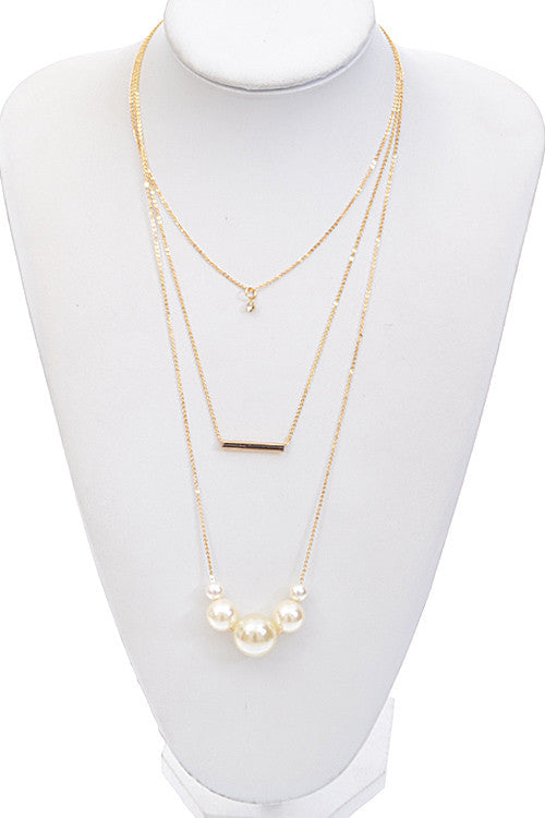 Pearl Bar Bead Pendant Layer Necklace