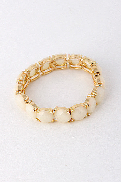 Edged Jewel Linked Stretch Bracelet