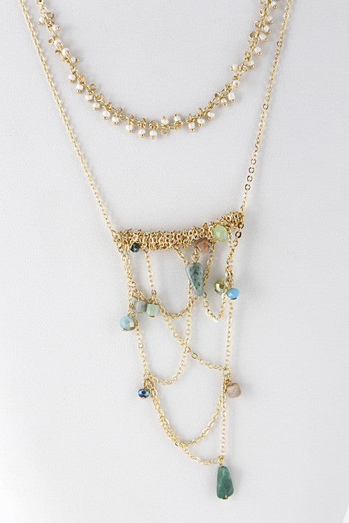 Mixed Color Beads Chain Dangle Necklace