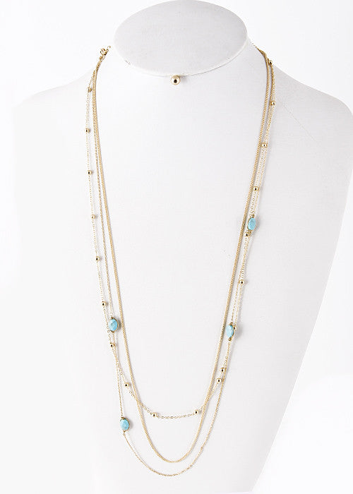 Jewel Gem Detailed Layer Long Drop Necklace