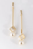 Square Cutout Pearl Bar Dangle Earring