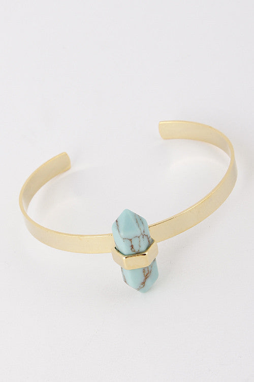 Pointy Bar Turquoise Stone Cuff Bracelet