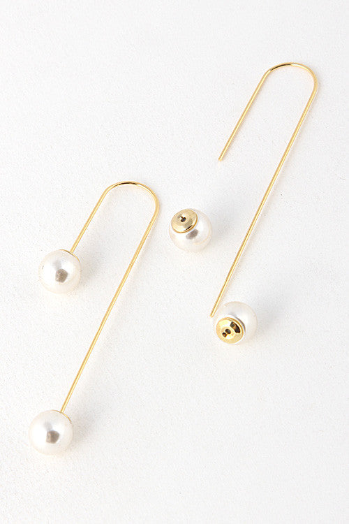 Double Pearl Ended Curved Earring