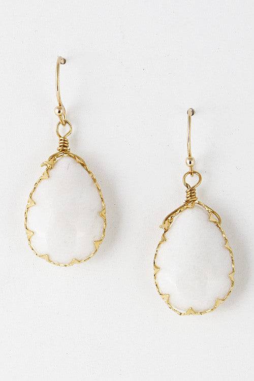 Antique Stone Gem Dangle Earring