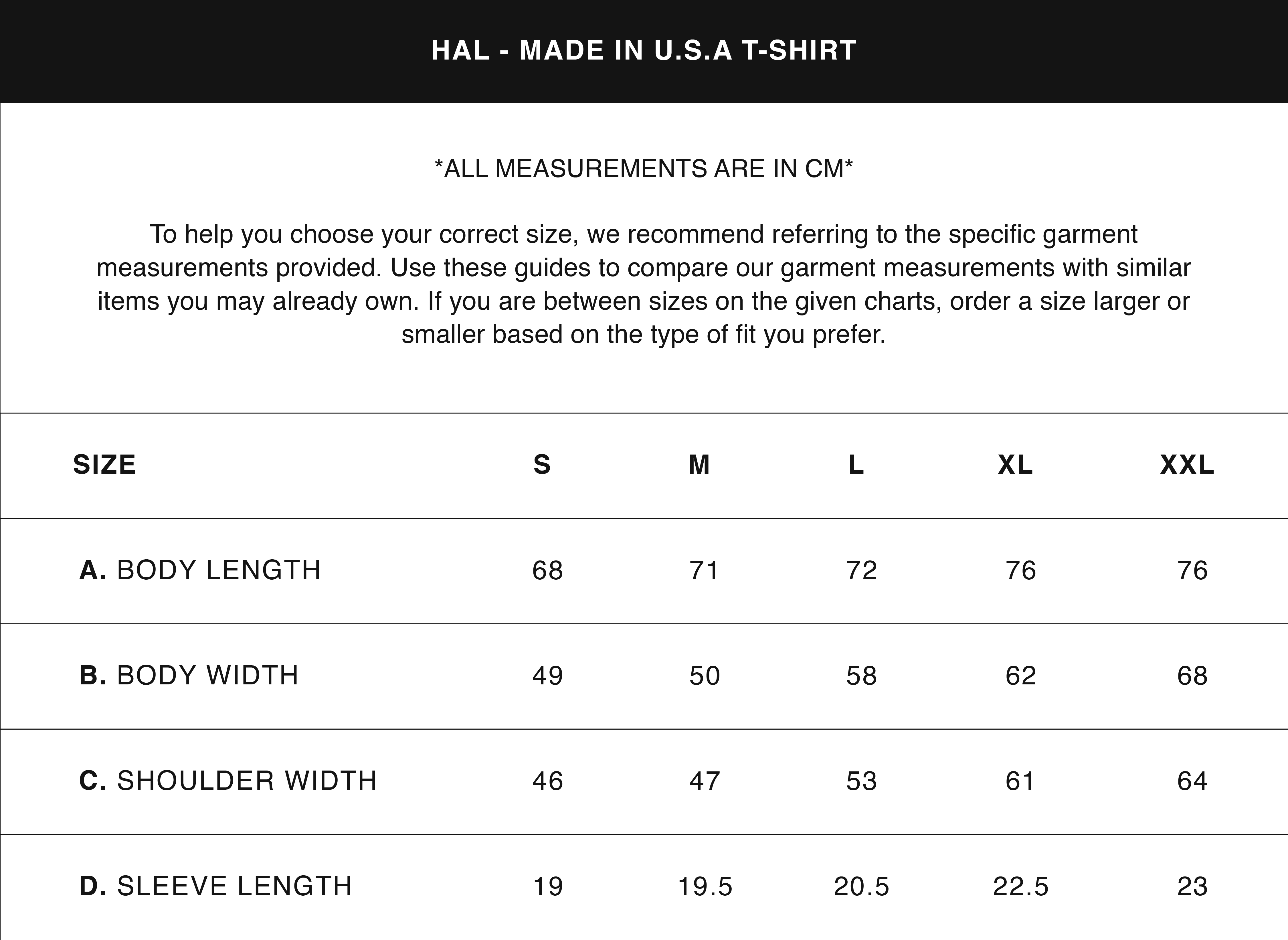 HAL SIZE GUIDES MADE IN USA T-SHIRT