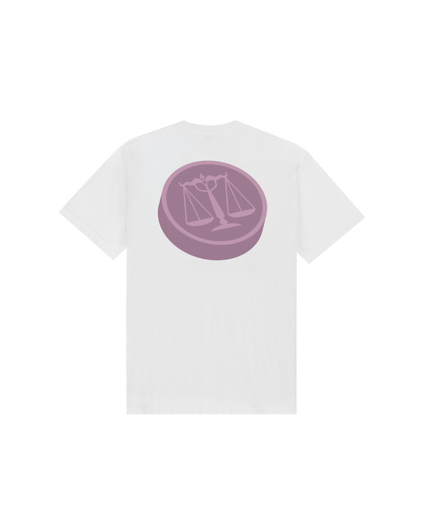 SS21 - 3D JUSTICE SCALES T-SHIRT - WHITE